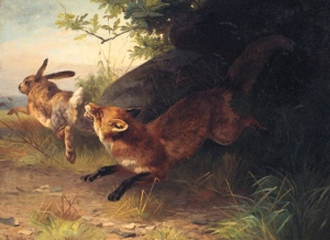 A Fox Chasing a Rabbit Adolf Mackeprang (1833-1911)