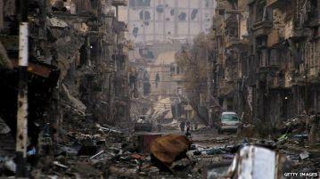 war ravaged city